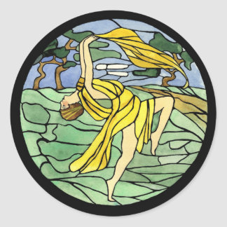Etiquetas do dançarino do vitral do vintage adesivo redondo