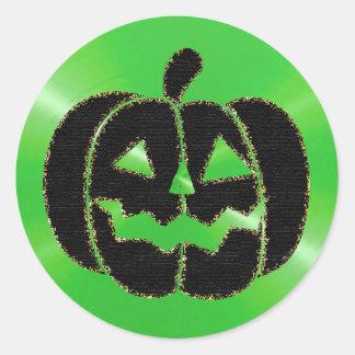 Etiquetas do Dia das Bruxas da abóbora do verde