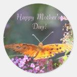 Etiquetas do dia das mães da borboleta de Beautifl Adesivo Em Formato Redondo