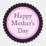Etiquetas do dia das mães do rosa quente do cortad adesivo em formato redondo