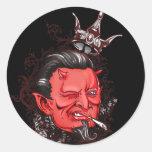 Etiquetas do diabo do Grunge Adesivo Em Formato Redondo