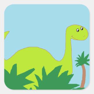 """Etiquetas do """"dinossauro"""" adesivo quadrado"""