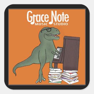 Etiquetas do dinossauro da nota de benevolência adesivo quadrado
