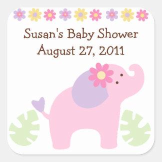 Etiquetas do elefante da selva de Bubblegum/selos Adesivo Quadrado