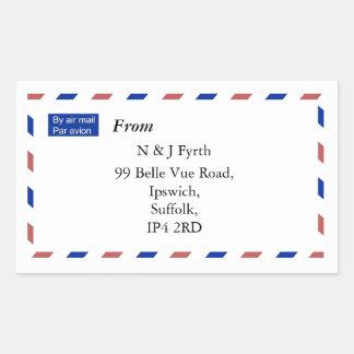 Etiquetas do endereço do correio aéreo adesivo retangular