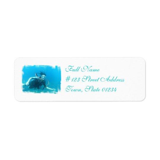 Etiquetas do enviamento da menina do mergulhador etiqueta endereço de retorno