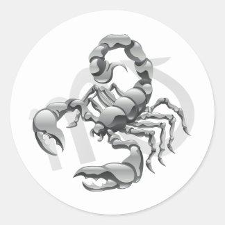 Etiquetas do escorpião adesivo redondo