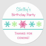 Etiquetas do favor de festa de aniversário do adesivo redondo