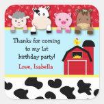 Etiquetas do favor de festa de aniversário dos ani adesivo em forma quadrada