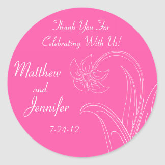 Etiquetas do favor do casamento do rosa quente ou