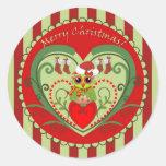 Etiquetas do Feliz Natal com a coruja bonito dos Adesivos Em Formato Redondos