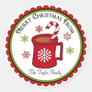 Etiquetas do feriado do chocolate quente do Natal Adesivos Em Formato Redondos