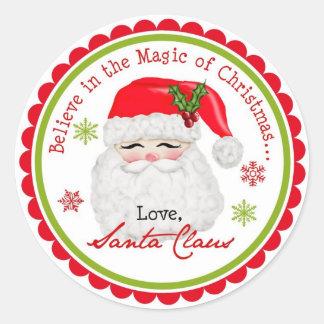 Etiquetas do feriado do Natal de Papai Noel Adesivos Redondos