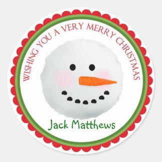 Etiquetas do feriado do Natal do boneco de neve Adesivo Redondo