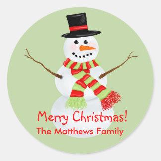 Etiquetas do feriado do Natal do boneco de neve Adesivos Redondos