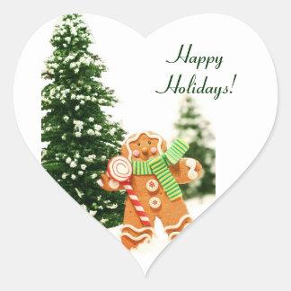 Etiquetas do feriado do pão-de-espécie adesivo de coração
