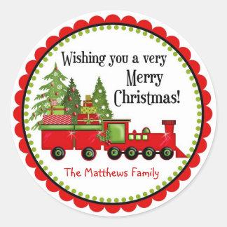Etiquetas do feriado do trem do Natal Adesivos Redondos