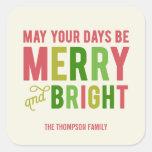 Etiquetas do feriado/selo alegres e brilhantes do adesivos quadrados