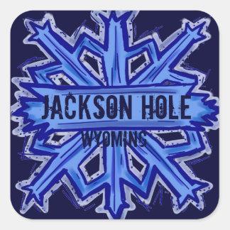 Etiquetas do floco de neve de Jackson Hole Wyoming Adesivo Quadrado