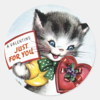 Etiquetas do gatinho dos namorados do vintage