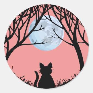 Etiquetas do gato do Dia das Bruxas do Adesivo Redondo