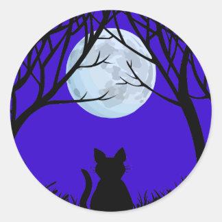 Etiquetas do gato do Dia das Bruxas do Adesivos Redondos