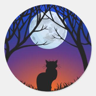 Etiquetas do gato do Dia das Bruxas do Adesivo Em Formato Redondo