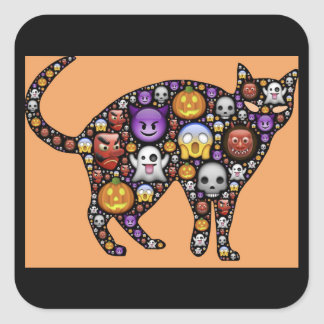 etiquetas do gato do emoji do Dia das Bruxas