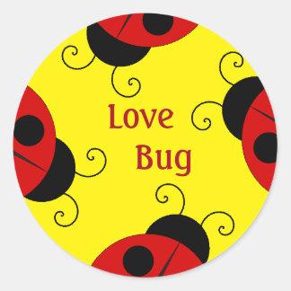 Etiquetas do inseto do amor com joaninhas