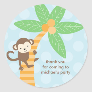 Etiquetas do macaco da selva adesivo redondo