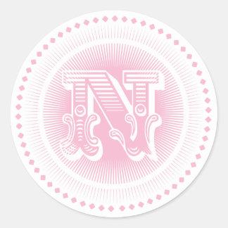 Etiquetas do monograma da letra N