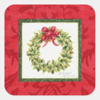 Etiquetas do Natal da grinalda da folha de louro