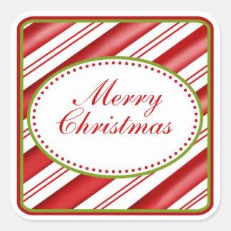 Etiquetas do Natal da listra do bastão de doces Adesivo Quadrado