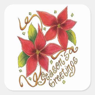 Etiquetas do Natal das poinsétias dos cumprimentos