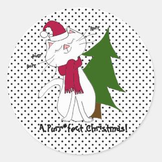 Etiquetas do Natal de Purr*fect do gatinho de Kute