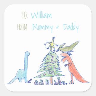 Etiquetas do Natal do feriado do dinossauro