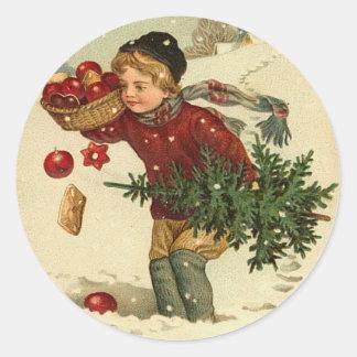 Etiquetas do Natal do Victorian para seus cartões Adesivos Redondos