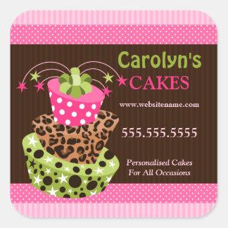 Etiquetas do negócio da padaria do bolo adesivo quadrado