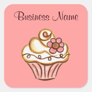 Etiquetas do negócio do cupcake adesivo quadrado