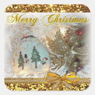 Etiquetas do ouro do ornamento do boneco de neve