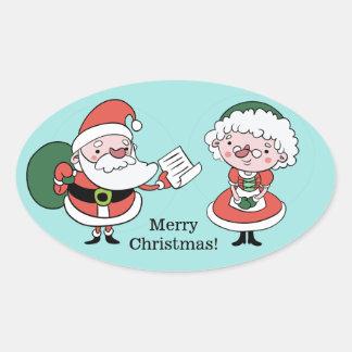Etiquetas do papai noel & da Sra. Claus