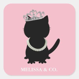 Etiquetas do partido do rosa do chá do gato de