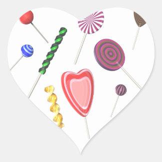 Etiquetas do pirulito adesivo coração