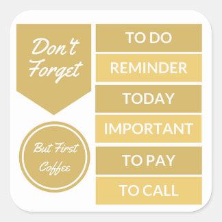 Etiquetas do planejador: Lembrete diário no ouro