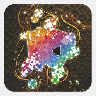 Etiquetas do póquer adesivo quadrado