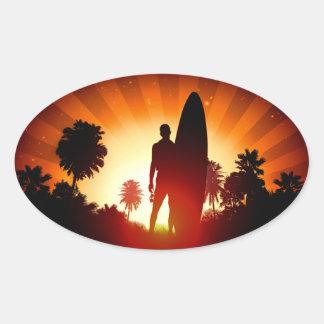 Etiquetas do por do sol do surfista