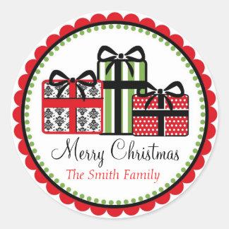 Etiquetas do presente do damasco do Natal Adesivo Em Formato Redondo
