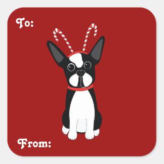 Etiquetas do presente do Natal de Boston Terrier