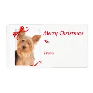 Etiquetas do presente do Natal de Yorkie