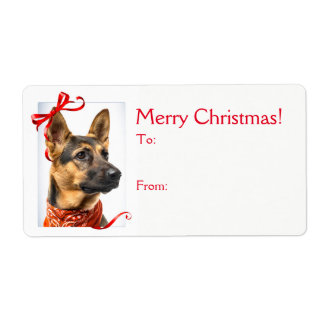 Etiquetas do presente do Natal do german shepherd
